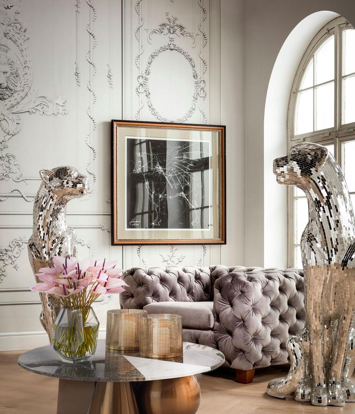 Роскошная гостиная с гламурным декором