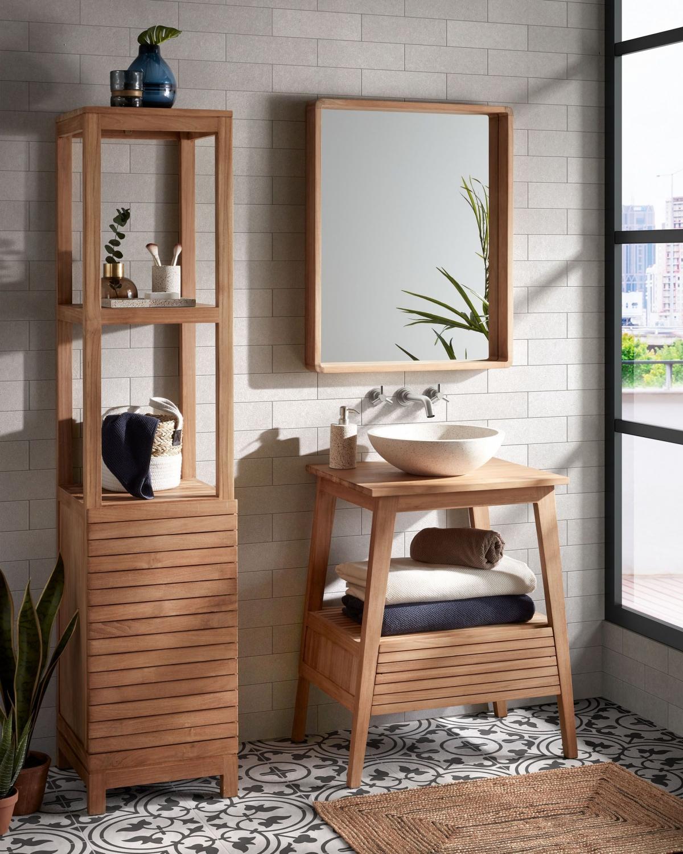 Интерьер зоны умывальника в ванной комнате: презентабельность, практичность, простота.