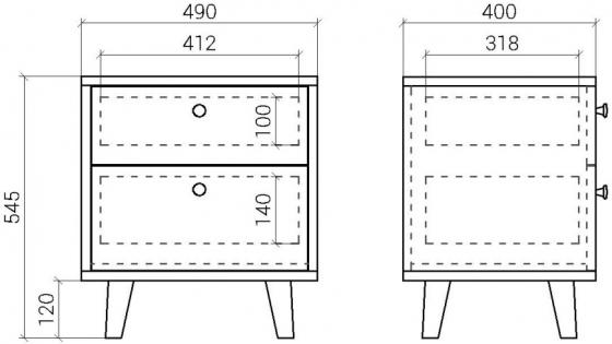 Прикроватная тумба Twin 49X40X55 CM 3