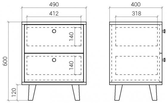Прикроватная тумба Twin 49X40X60 CM 7