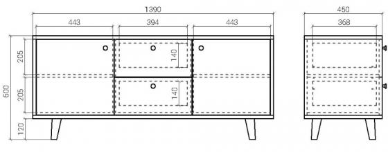 Тумба под ТВ Twin 139X45X60 CM 7