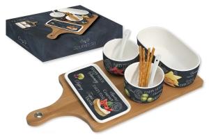 Набор для закуски: 2 чаши (8см) с ложками, салатник (17.5х8.5см), блюдо (16.5х8см), поднос