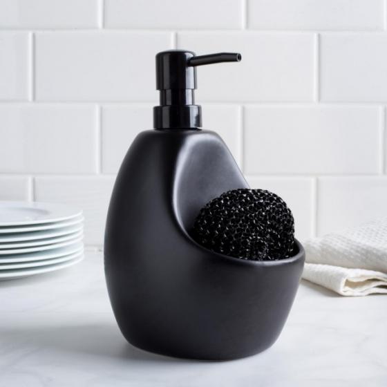 Диспенсер для мыла с подставкой для губки joey черный 2