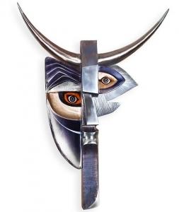 Настенная маска из хрусталя и стали Faun 69X89 CM