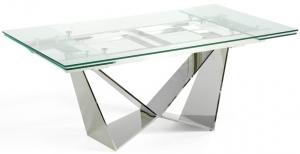 Стильный раскладной стеклянный стол Rect 160-220X90X75