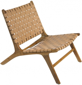 Кресло из тика и кожи Realteka 63X85X70 CM