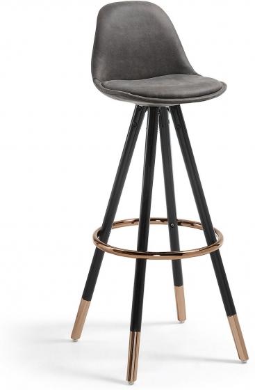 Барный стул Stag 40X40X97 CM серый на чёрных ножках  1