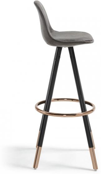 Барный стул Stag 40X40X97 CM серый на чёрных ножках  2