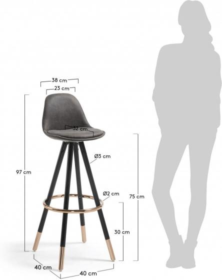Барный стул Stag 40X40X97 CM серый на чёрных ножках  6