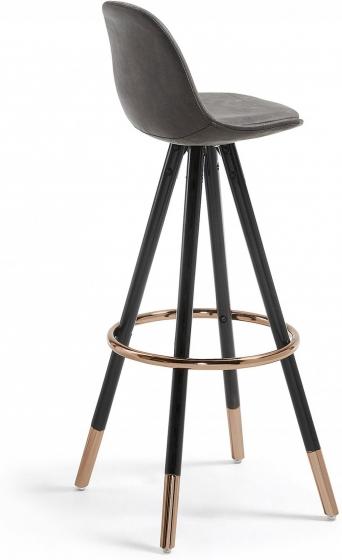 Барный стул Stag 40X40X97 CM серый на чёрных ножках  3