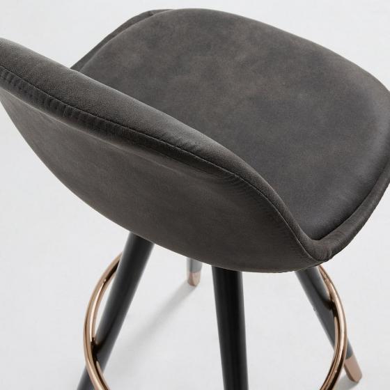 Барный стул Stag 40X40X97 CM серый на чёрных ножках  4