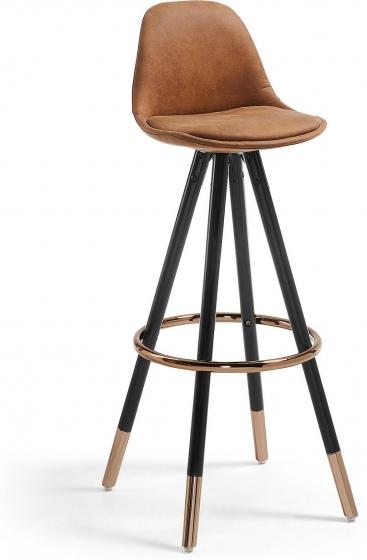 Барный стул Stag 40X40X97 CM коричневый на черных ножках  1