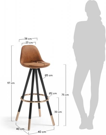 Барный стул Stag 40X40X97 CM коричневый на черных ножках  5
