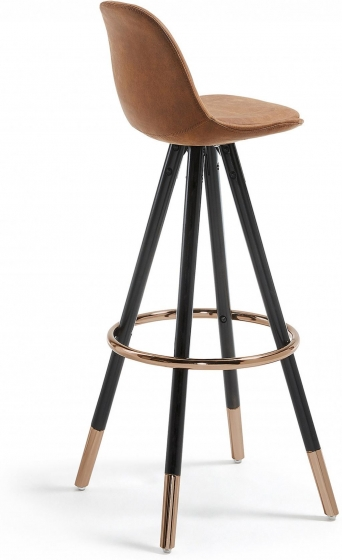 Барный стул Stag 40X40X97 CM коричневый на черных ножках  3