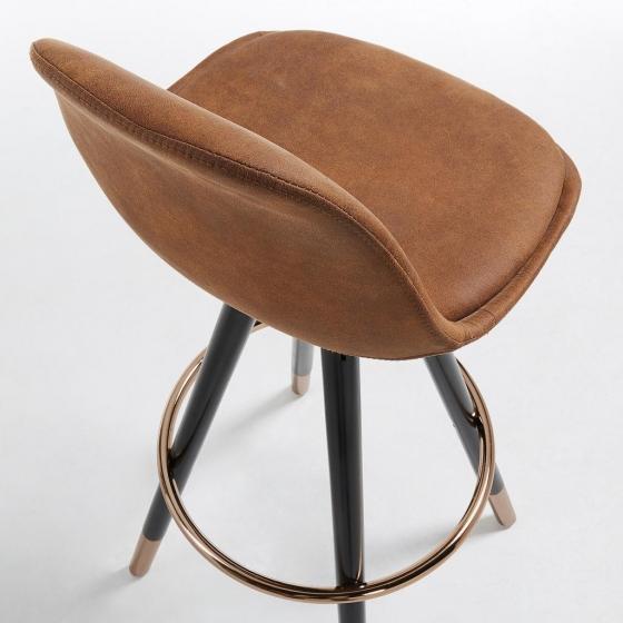 Барный стул Stag 40X40X97 CM коричневый на черных ножках  4