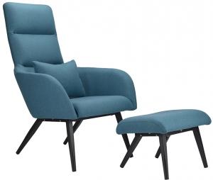 Кресло с подставкой для ног Bridjet 68X58X105 CM серо-голубое