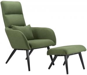Кресло с подставкой для ног Bridjet 68X58X105 CM зелёное