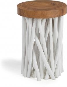 Столик с ножками из веток тикового дерева Druf 35X35X50 CM