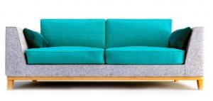 Двухместный диван GASTBY 202X102X85 CM серо-бирюзовый