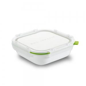 Ланч-бокс square белый/зеленый малый