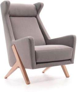 Винтажное кресло каркас массив бука Boss 77X110X97 CM серое