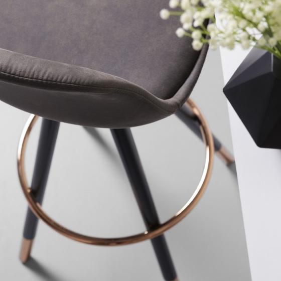 Барный стул Stag 40X40X97 CM серый на чёрных ножках  5