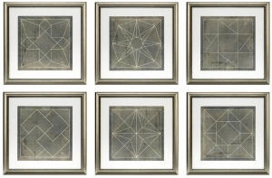 Постеры Geometric Blue 57X57 / 57X57 / 57X57 / 57X57 / 57X57 / 57X57 CM