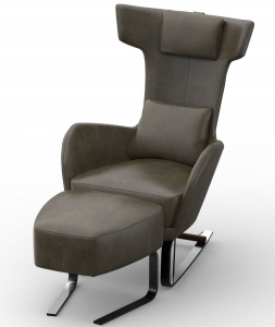 Кресло с оттоманкой Kangou 70X94X109 / 52X51X48 CM
