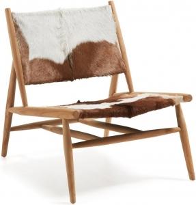 Кресло из массива тика и кожи Eki 77X77X64 CM