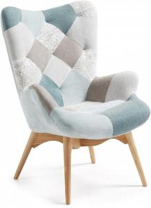 Кресло Knut Patchwork 92X82X72 CM светло голубое
