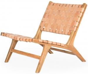 Кресло из тика и кожи Sath 65X85X72 CM