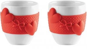 Набор из 2 чашек для кофе Love 80 ml красный