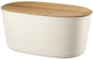 Хлебница с бамбуковой крышкой Tierra 10 L молочно-белая