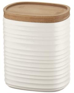 Емкость для хранения с бамбуковой крышкой Tierra 1 L молочно-белая