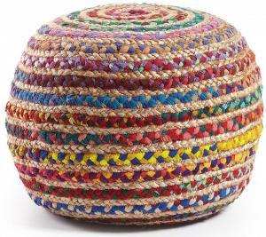 Пуф круглый с чехлом из джута Samy 35X50X50 CM разноцветный