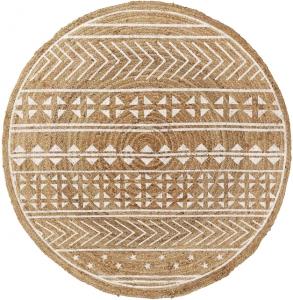 Круглый ковер из джута Cheer Ø 100 CM с белым узором