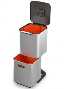 Контейнер для мусора с двумя баками Totem Compact 40 L нержавеющая сталь
