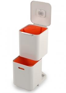 Контейнер для мусора с двумя баками Totem Compact 40 L белый