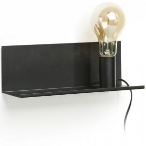 Настенная полочка с лампочкой Maeko 12X35X12 CM чёрная