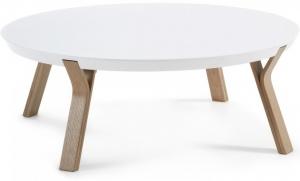 Кофейный столик на дубовом каркасе Solid 90X90X32 CM белый