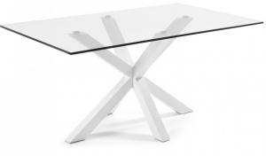 Стол Arya 180X100X78 CM белые ножки стеклянная столешница