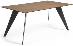 Стол Nack 160X90X75 CM черные ножки коричневая керамическая столешница