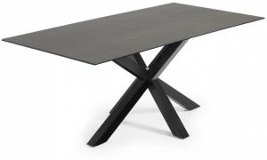 Стол Arya 200X100X77 CM чёрные ножки серая керамическая столешница