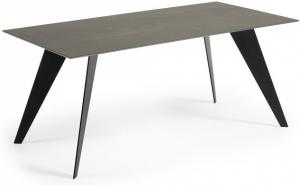 Стол Nack 180X100X75 CM чёрные ножки серая керамическая столешница