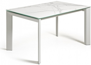 Раздвижной стол Atta 140-200X90X76 белые ножки белая керамическая столешница