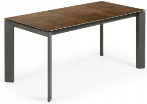 Раскладной стол Atta 160-220X90X76 CM с имитацией состаренного метала коричневый