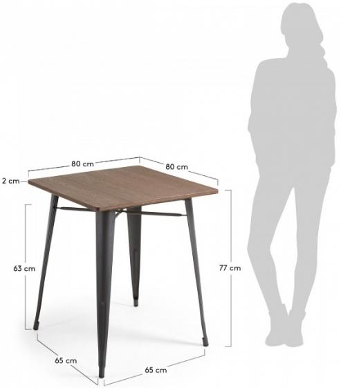 Стол Malibu 80X80X77 CM с черными ножками 5