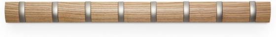 Вешалка настенная горизонтальная flip 8 крючков натуральное дерево 1