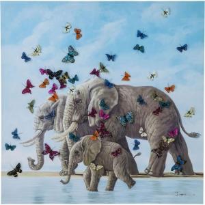 Картина Elefants with Butterflys 120X120 CM