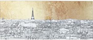 Постер на стекле Metallic Paris View 120X50 CM